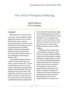 The Toll of Workplace Bullying