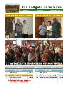 The Tollgate Farm News Volume 22 Issue 11 November 2016