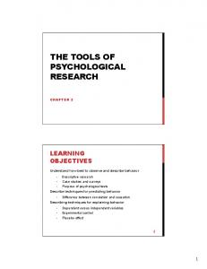 THE TOOLS OF PSYCHOLOGICAL RESEARCH