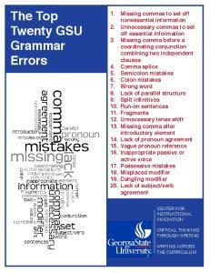 The Top Twenty GSU Grammar Errors