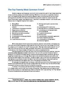 The Top Twenty Most Common Errors 1