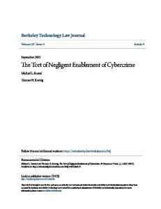 The Tort of Negligent Enablement of Cybercrime