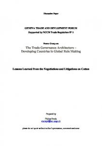 The Trade Governance Architecture Developing Countries in Global Rule Making