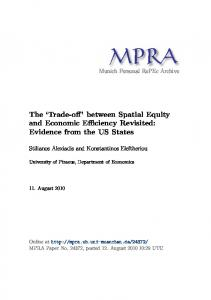 The Trade-off between Spatial Equity and Economic Efficiency Revisited: Evidence from the US States