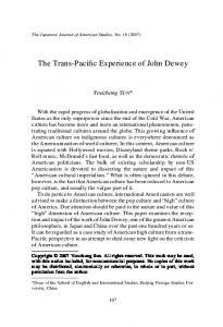 The Trans-Pacific Experience of John Dewey