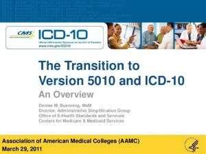 The Transition to Version 5010 and ICD-10