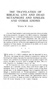THE TRANSLATION OF BIBLICAL LIVE AND DEAD METAPHORS AND SIMILES AND OTHER IDIOMS