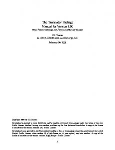 The Translator Package Manual for Version 1.00