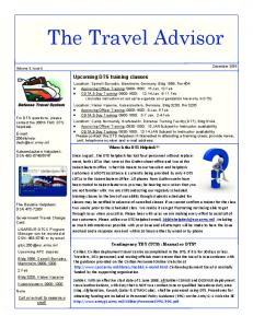 The Travel Advisor. Upcoming DTS training classes