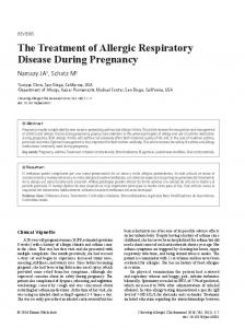 The Treatment of Allergic Respiratory Disease During Pregnancy