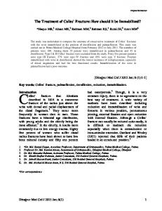 The Treatment of Colles` Fracture: How should it be Immobilized?