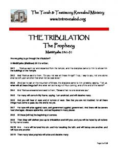 THE TRIBULATION. The Prophecy