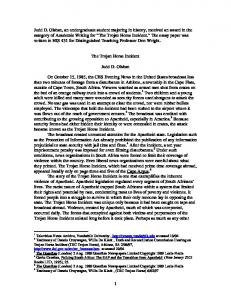 The Trojan Horse Incident. Judd D. Olshan