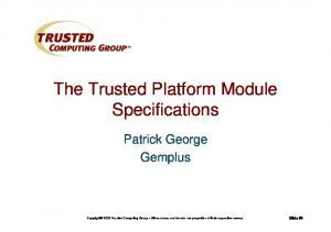 The Trusted Platform Module Specifications