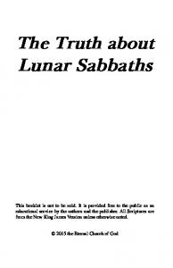 The Truth about Lunar Sabbaths