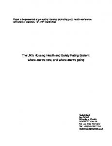 The UK s Housing Health and Safety Rating System: where are we now, and where are we going