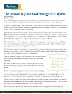 The Ultimate Buy-and-Hold Strategy: 2010 update