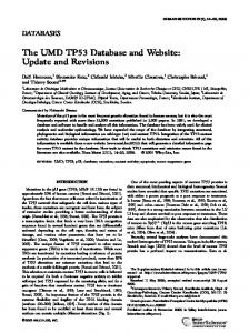 The UMD TP53 Database and Website: Update and Revisions