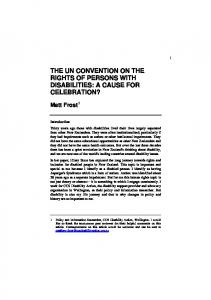 THE UN CONVENTION ON THE RIGHTS OF PERSONS WITH DISABILITIES: A CAUSE FOR CELEBRATION?