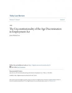 The Unconstitutionality of the Age Discrimination in Employment Act