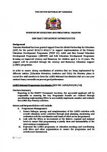 THE UNITED REPUBLIC OF TANZANIA MINISTRY OF EDUCATION AND VOCATIONAL TRAINING CONTRACT EMPLOYMENT OPPORTUNITIES