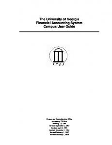 The University of Georgia Financial Accounting System Campus User Guide