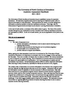 The University of North Carolina at Greensboro Academic Assessment Handbook