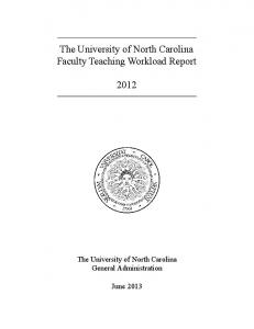 The University of North Carolina Faculty Teaching Workload Report