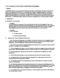 The University of North Carolina Staff Assembly Bylaws
