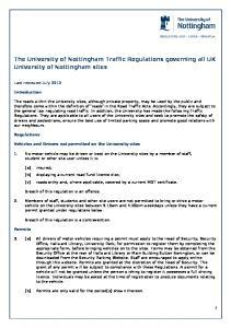 The University of Nottingham Traffic Regulations governing all UK University of Nottingham sites