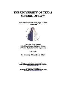 THE UNIVERSITY OF TEXAS SCHOOL OF LAW
