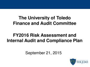 The University of Toledo Finance and Audit Committee FY2016 Risk Assessment and Internal Audit and Compliance Plan