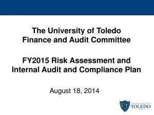 The University of Toledo Finance and Audit Committee FY2015 Risk Assessment and Internal Audit and Compliance Plan