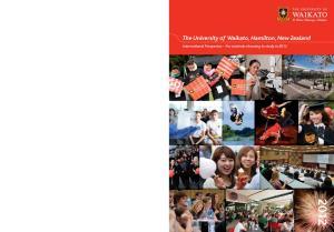 The University of Waikato, Hamilton, New Zealand. International Prospectus For students choosing to study in 2012