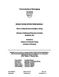 The University of Wollongong SCUBA DIVING OPERATIONS MANUAL