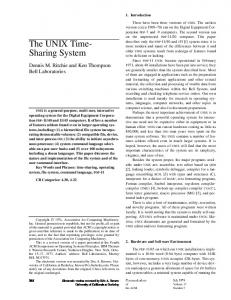 The UNIX Time- Sharing System