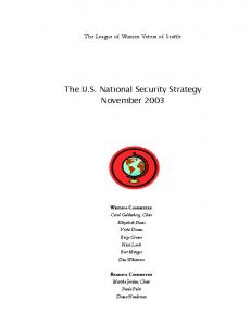 The U.S. National Security Strategy November 2003