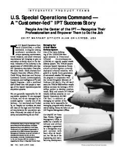 The U.S. Special Operations Command. A Customer-led IPT Success Story
