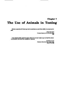 The Use of Animals in Testing