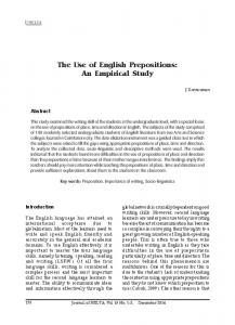 The Use of English Prepositions: An Empirical Study