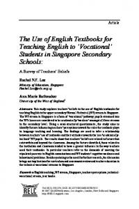 The Use of English Textbooks for Teaching English to Vocational Students in Singapore Secondary Schools: