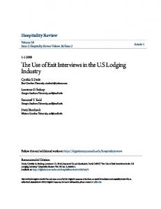 The Use of Exit Interviews in the U.S Lodging Industry