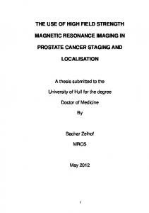 THE USE OF HIGH FIELD STRENGTH MAGNETIC RESONANCE IMAGING IN PROSTATE CANCER STAGING AND LOCALISATION