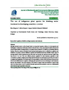 The use of indigenous plant species for drinking water treatment in developing countries: a review
