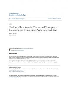 The Use of Interferential Current and Therapeutic Exercise in the Treatment of Acute Low Back Pain