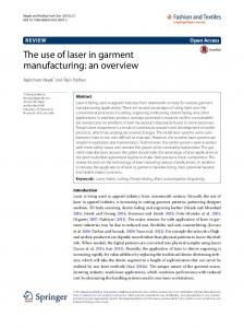 The use of laser in garment manufacturing: an overview