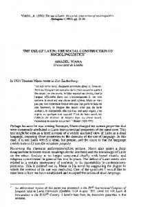 THE USE OF LATIN: THE SOCIAL CONSTRUCTION OF SOCIOLINGUISTICS*