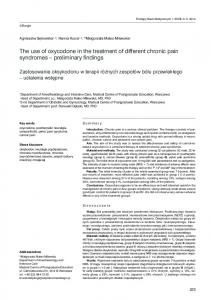 The use of oxycodone in the treatment of different chronic pain syndromes preliminary findings