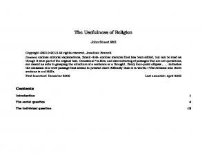 The Usefulness of Religion