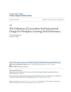 The Utilization of Curriculum And Instructional Design For Workplace Learning And Performance
